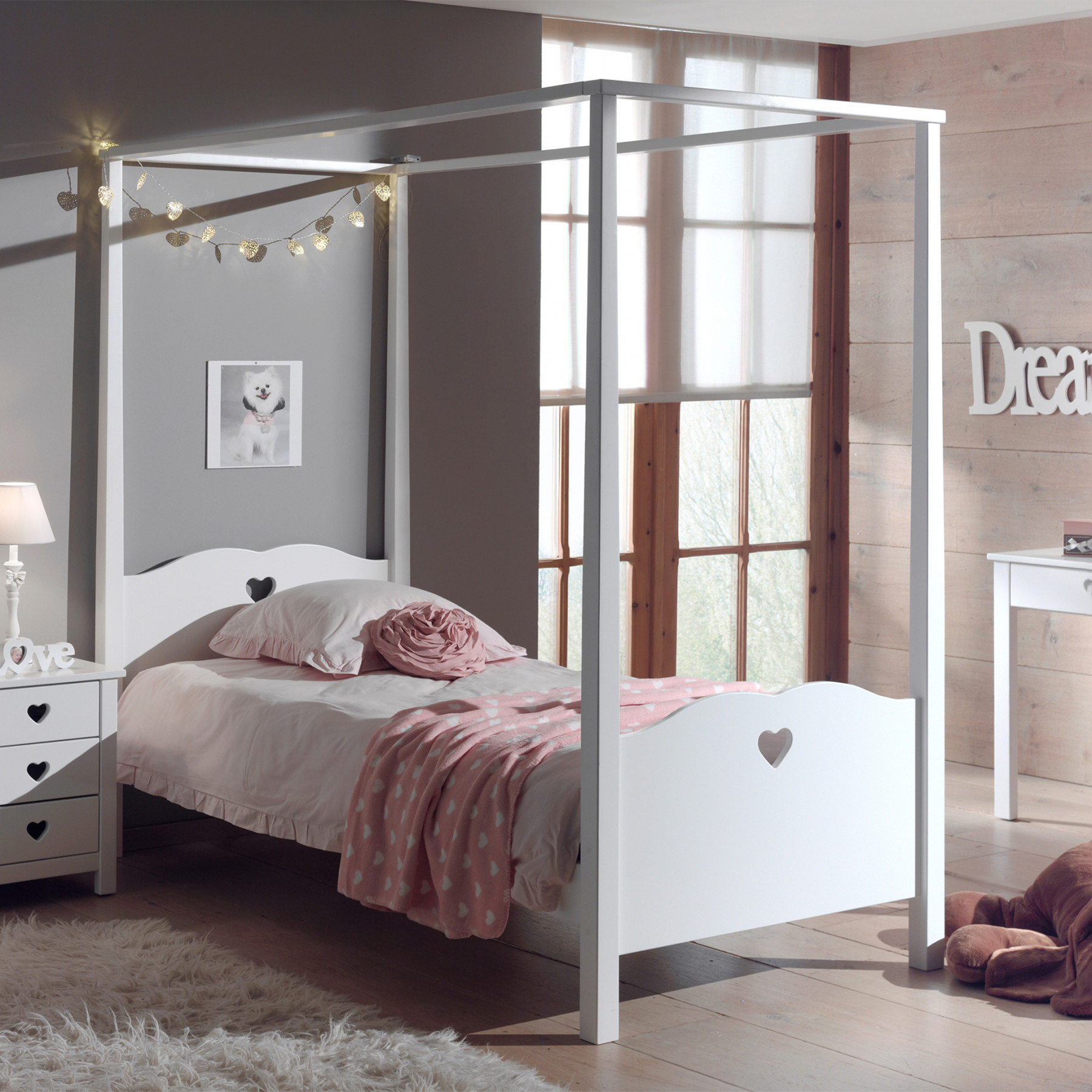 lit enfant baldaquin avec voialges en bois blanc 90x200 es2001. Black Bedroom Furniture Sets. Home Design Ideas