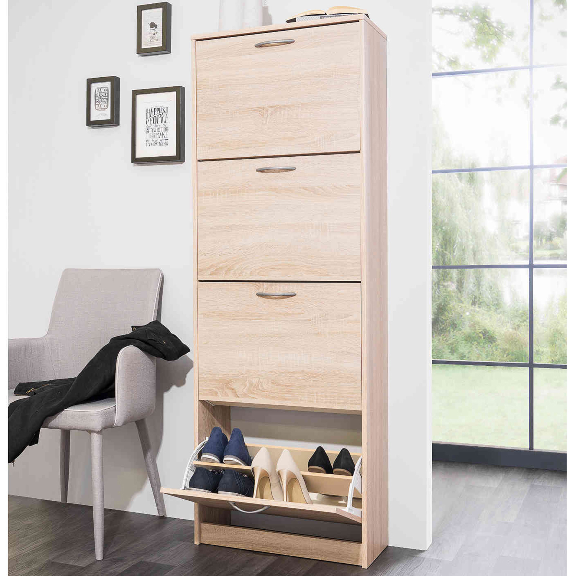 Meuble à chaussures 4 tiroirs en bois imitation chêne - MC7042