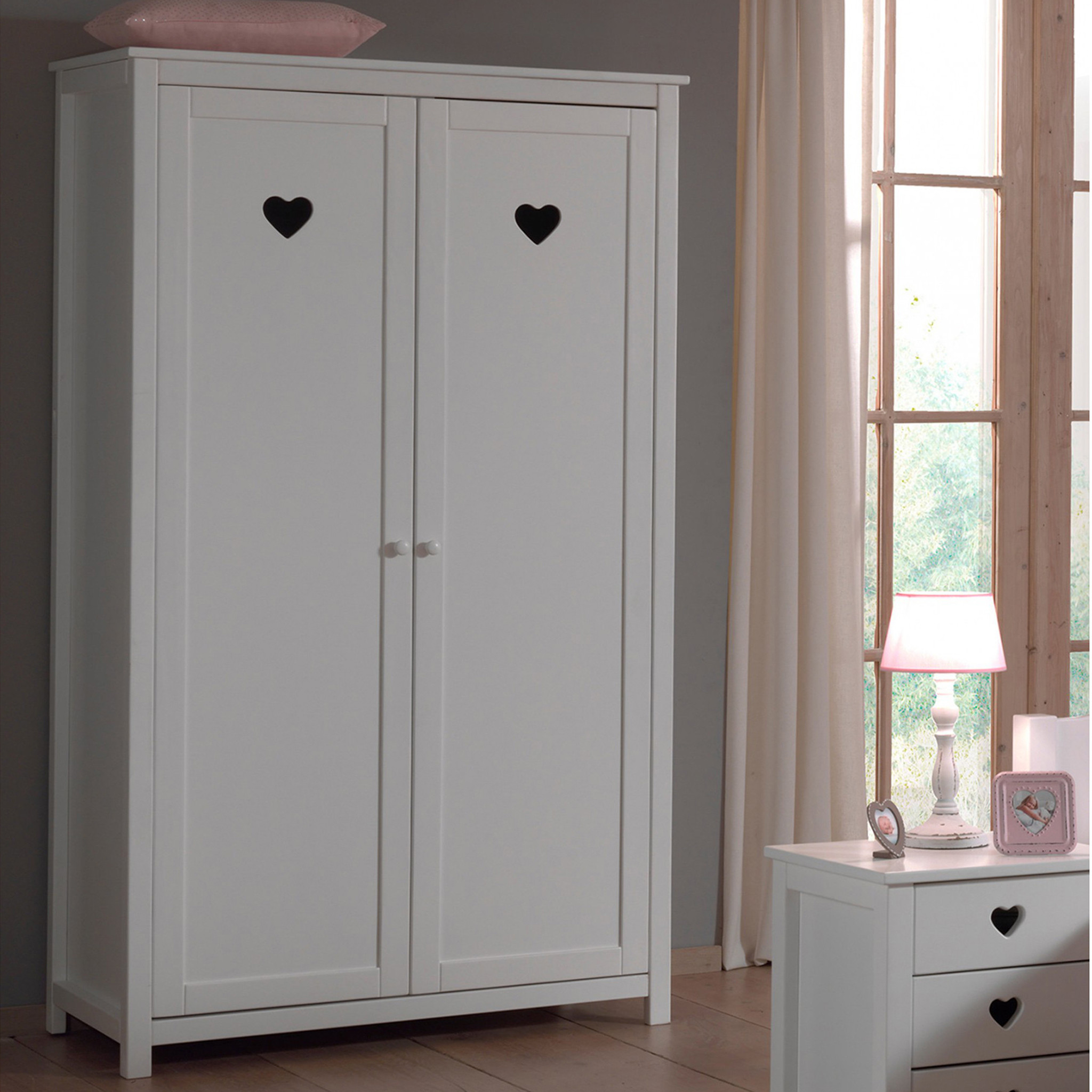 armoire 2 portes en bois blanc ar2001. Black Bedroom Furniture Sets. Home Design Ideas