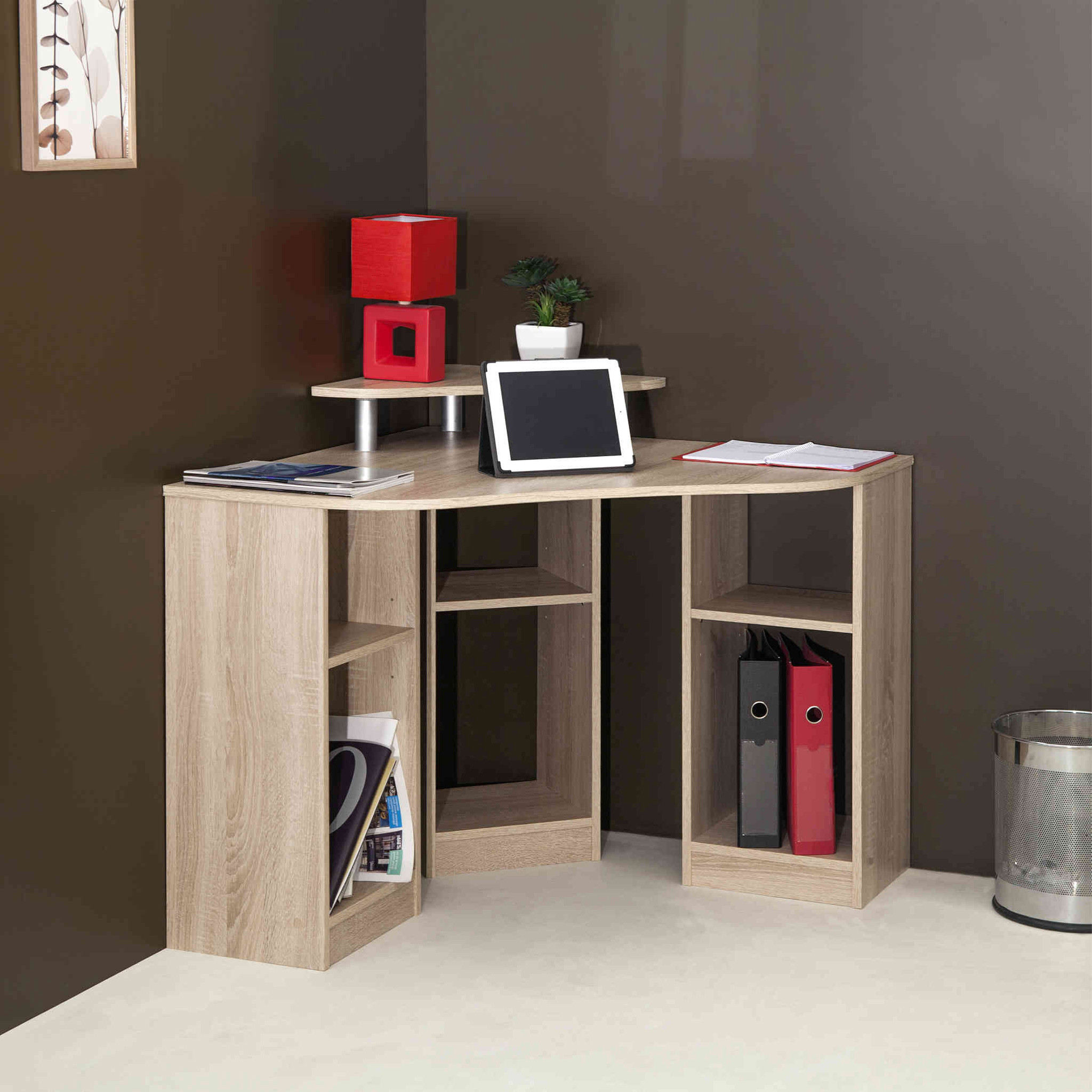 Bureau d'angle en bois avec niche de rangement - BU6013