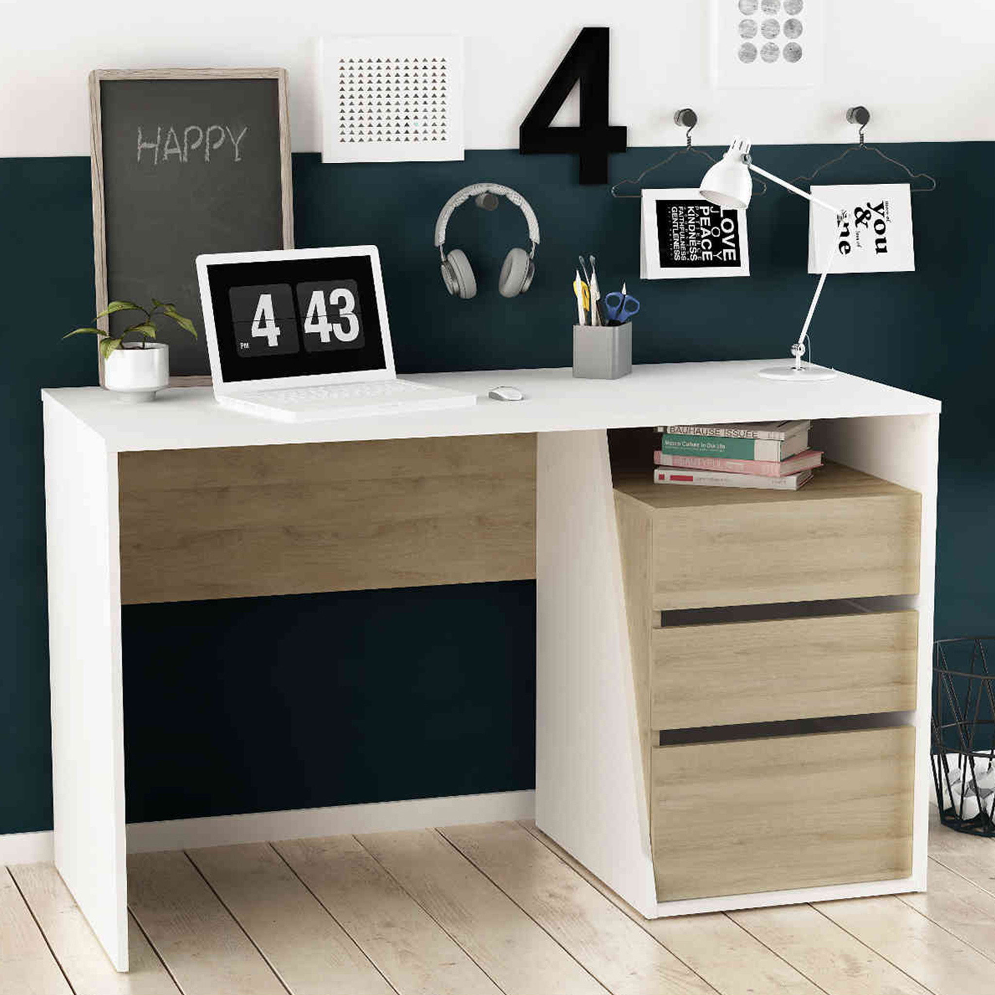 Bureau 3 tiroirs en bois blanc et chêne kronberg - BU152