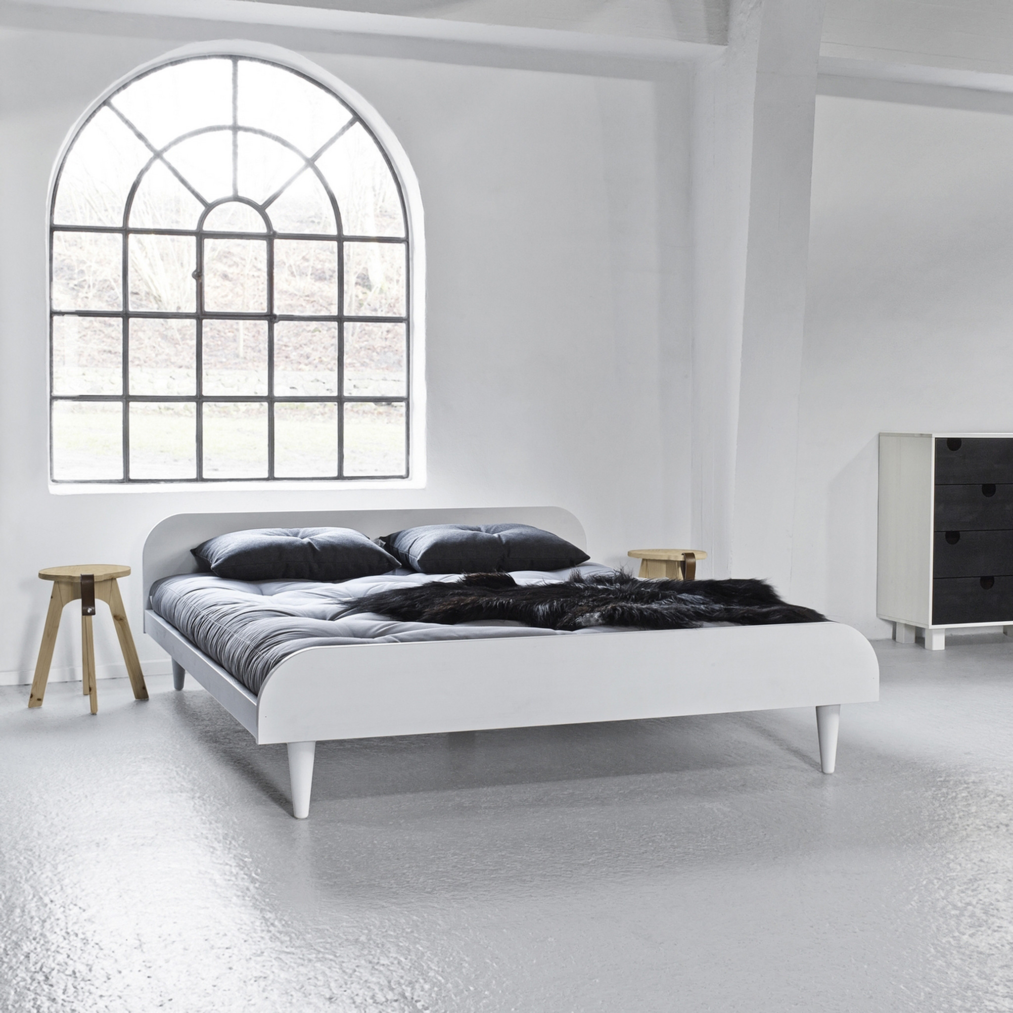 Pack futon latex gris clair + lit twist bois blanc