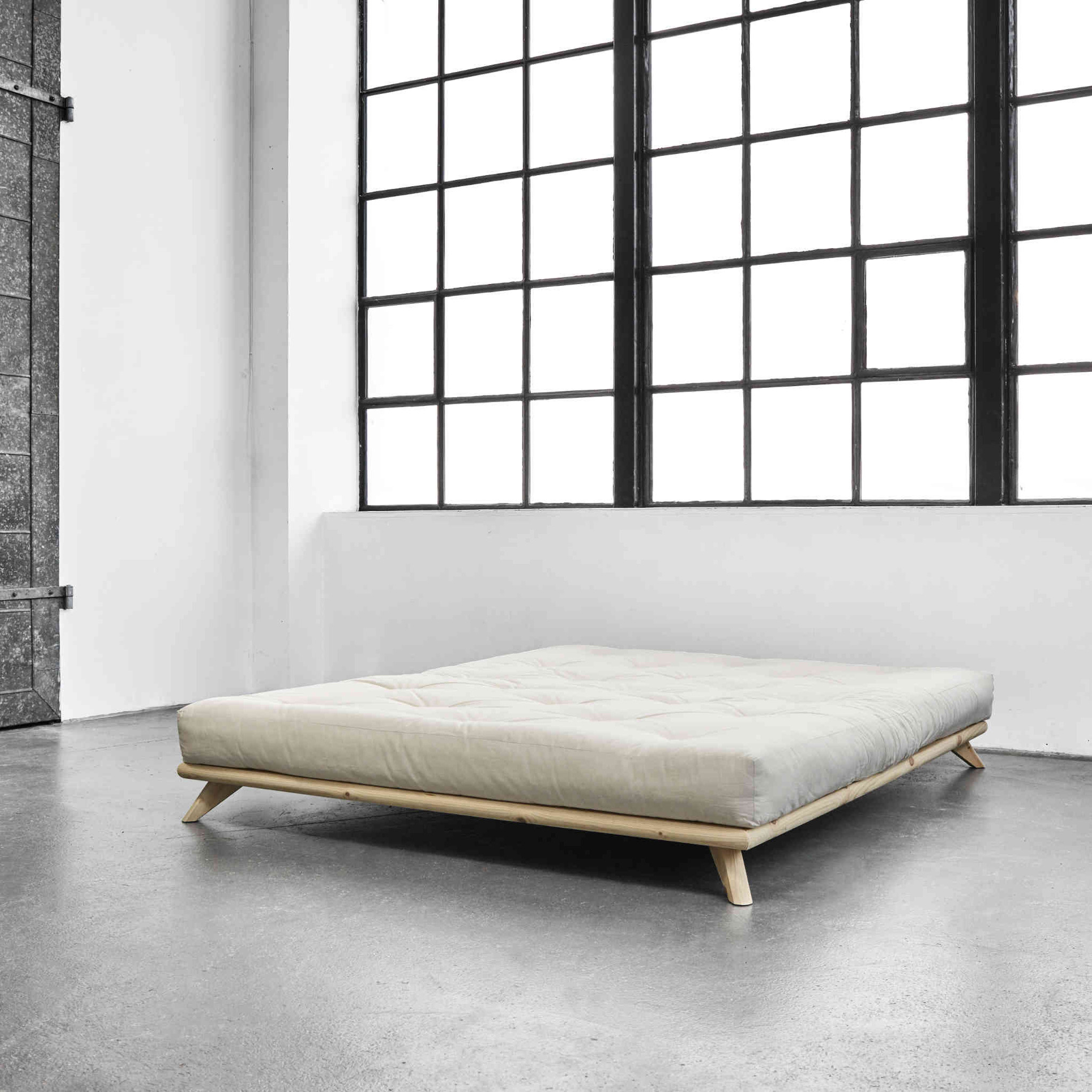 Ensemble lit futon senza Naturel + matelas écru 180x200