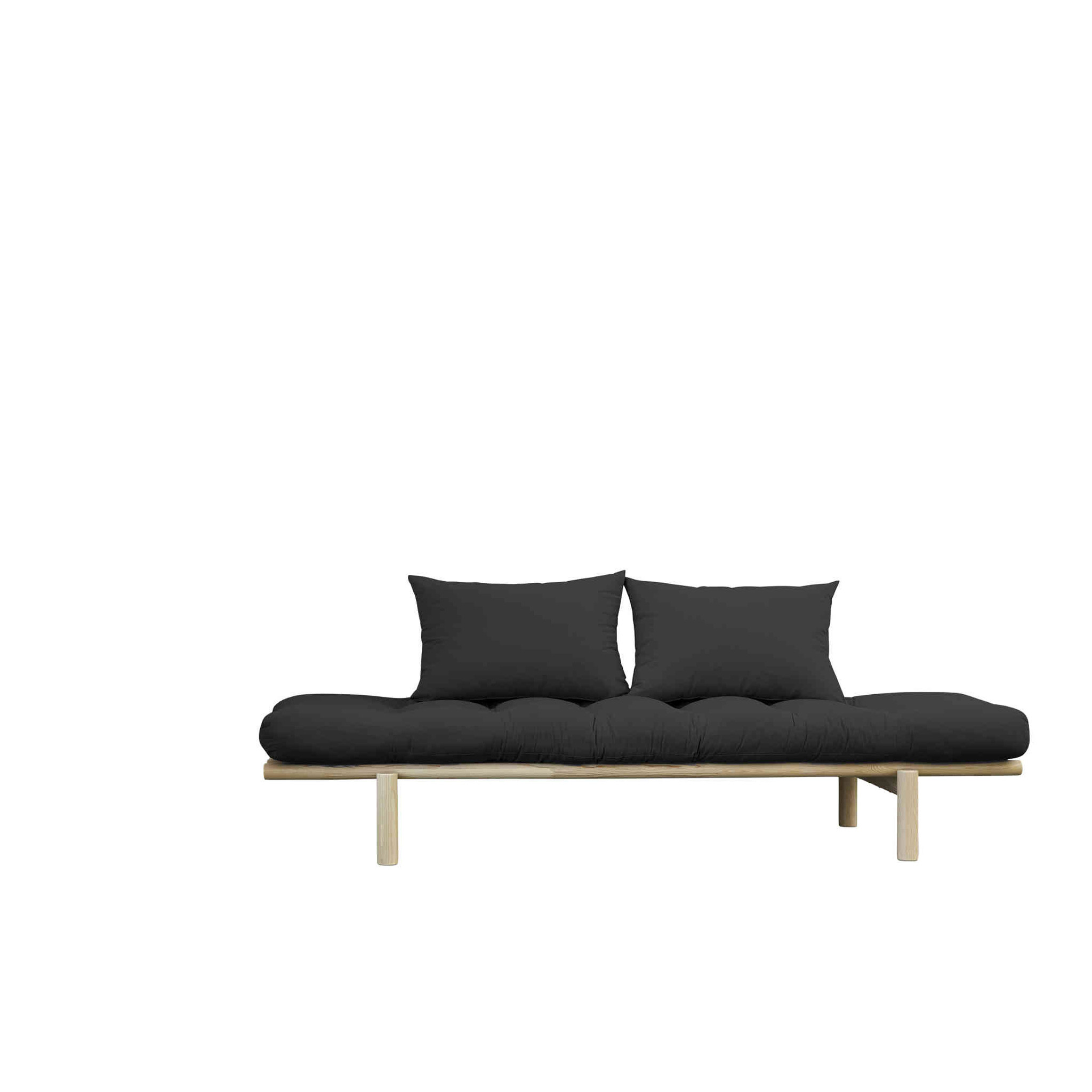 Sofa en pin massif naturel matelas anthracite 75x200 + coussins 40x60 inclus