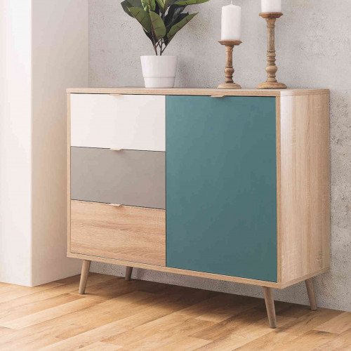 Commode 3 tiroirs 1 porte colorée scandinave