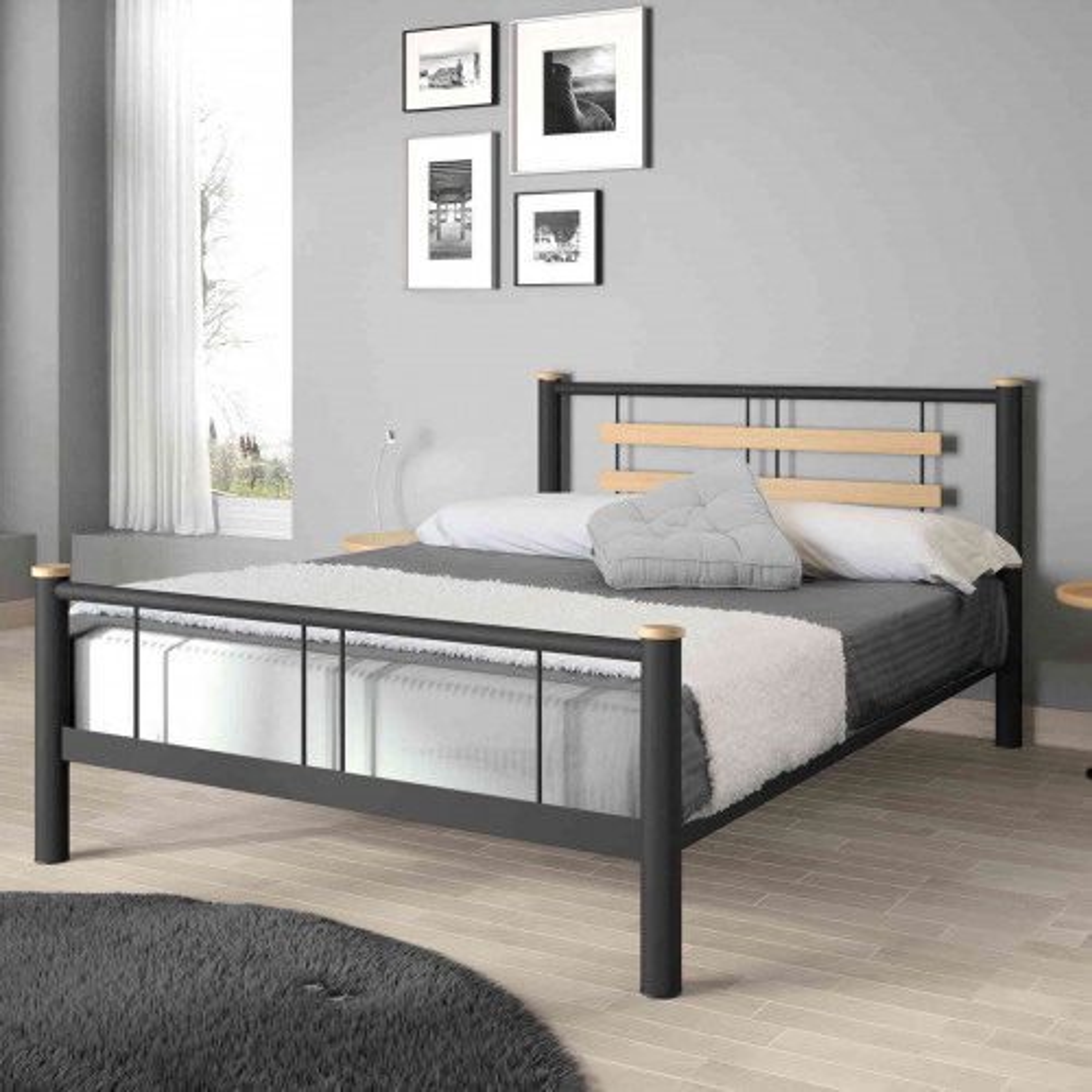 Lit en métal noir et chêne 90x200 - LT4005