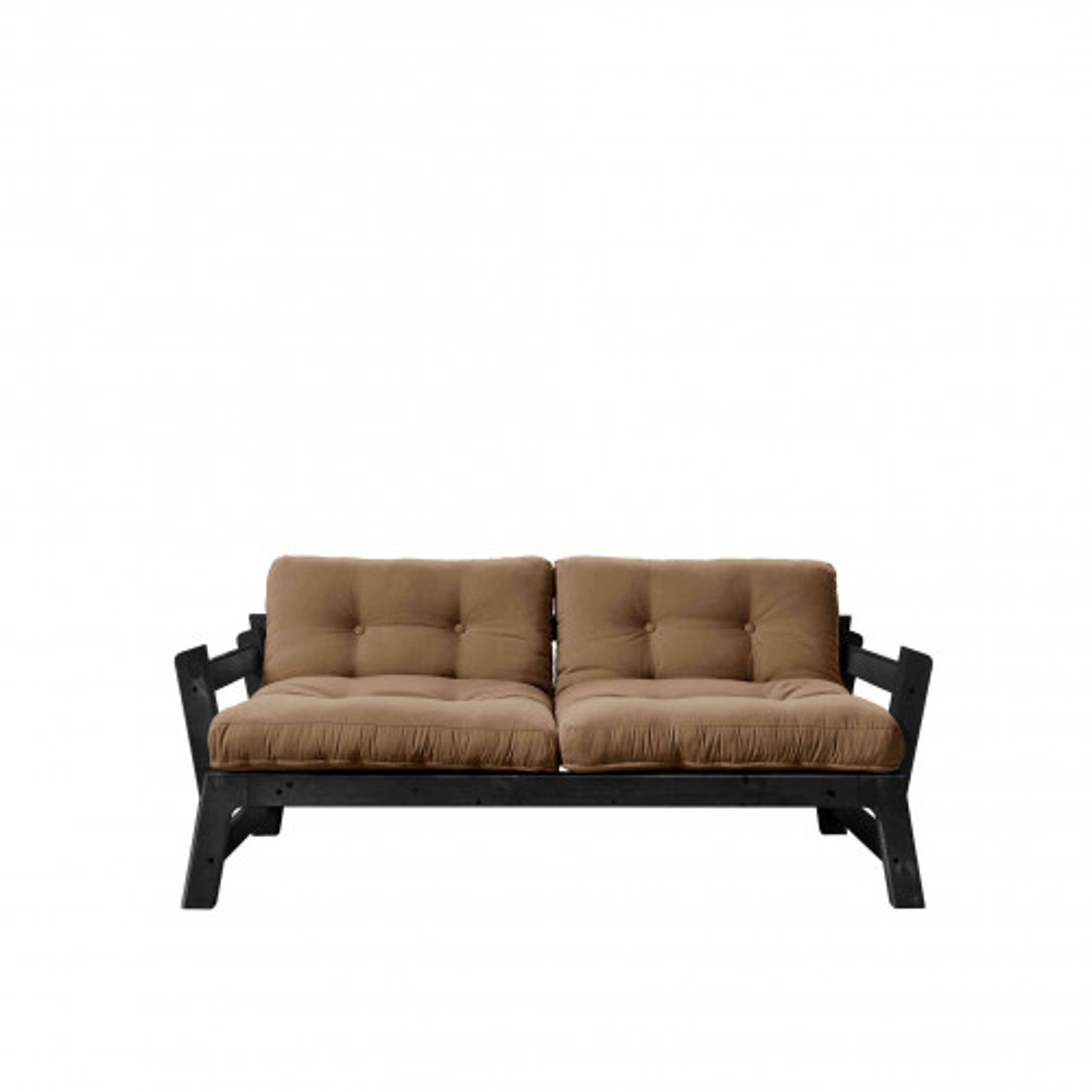 Banquette ajustable en pin massif noir matelas marron inclus 2x70x100