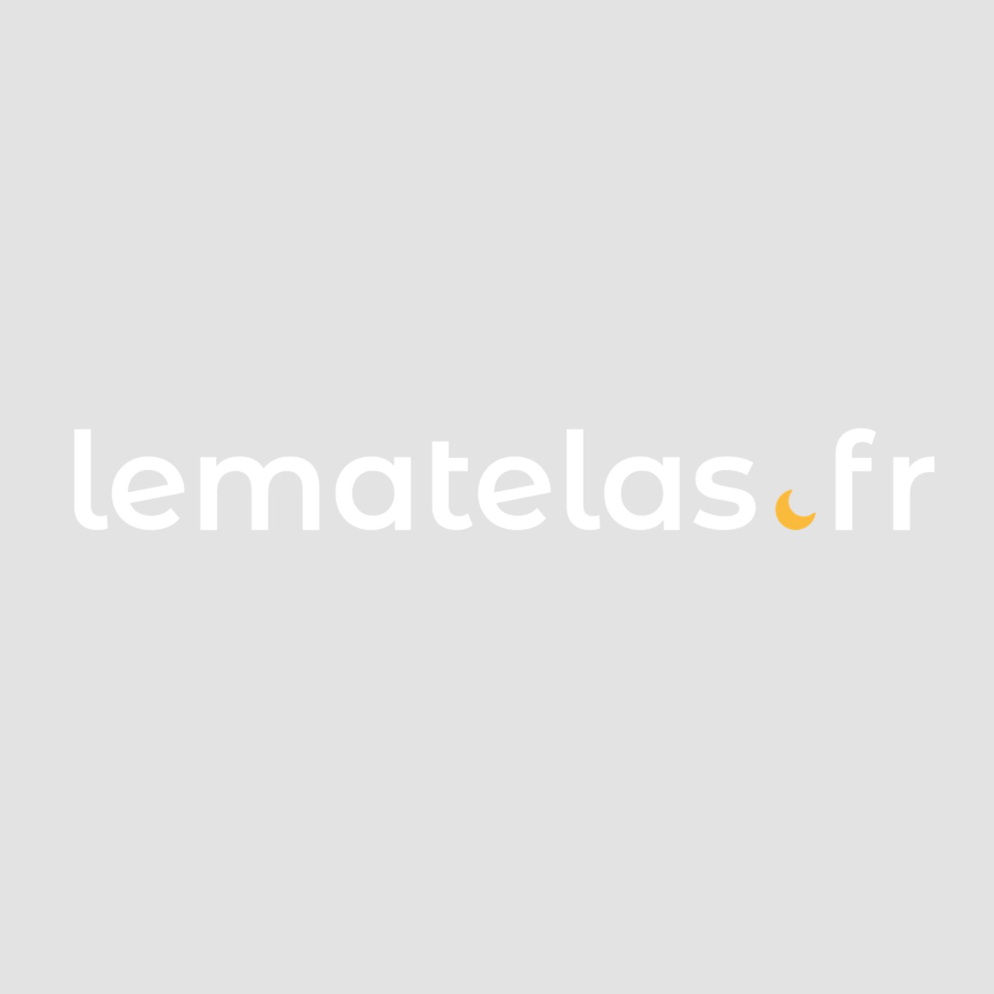Structure futon en bois blanc avec matelas noir et coussin gris