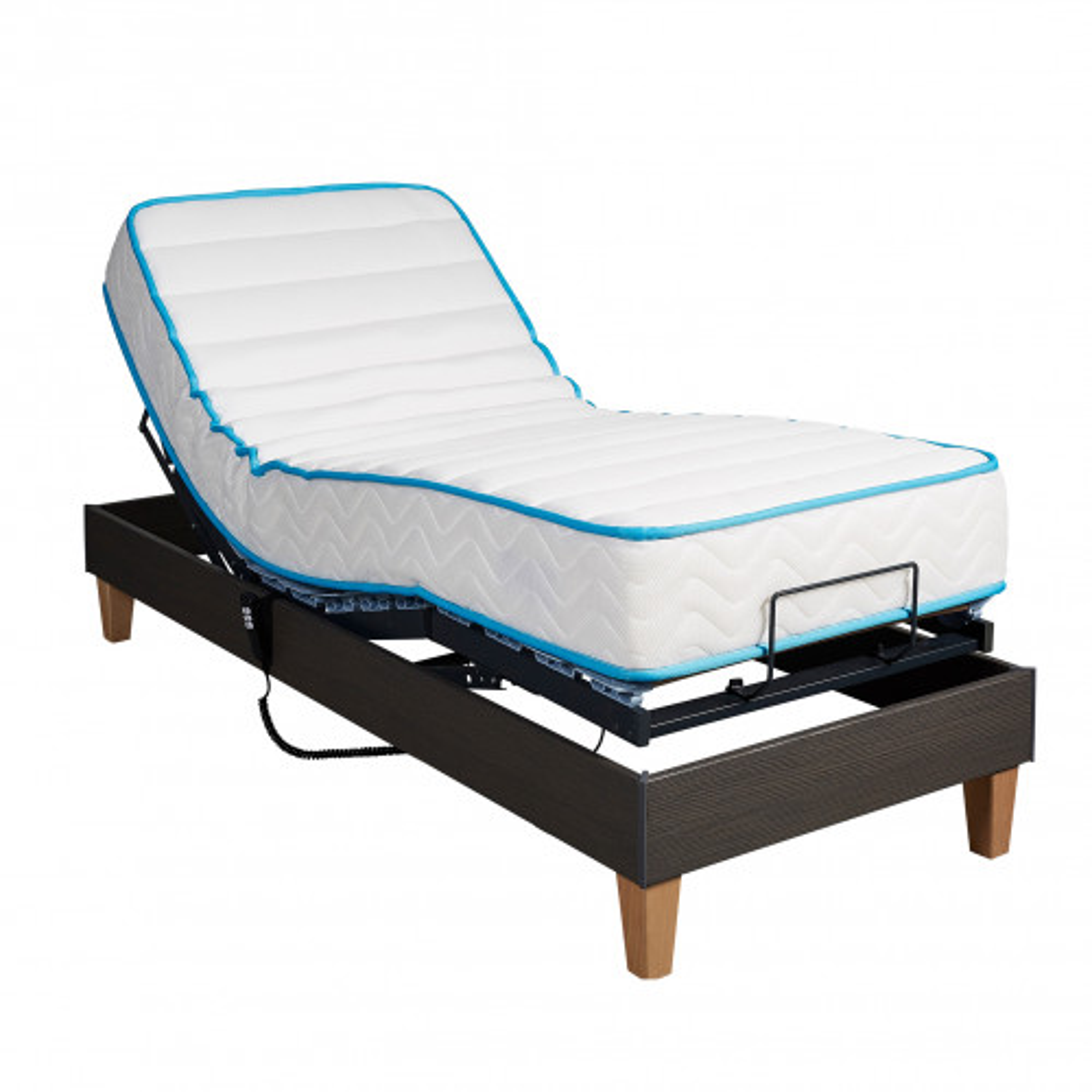 Ensemble relaxation Someo latex 90 + sommier TPR 50 chêne foncé 80x200
