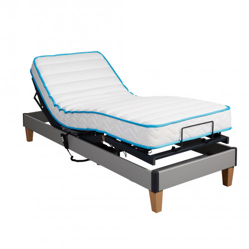 Ensemble relaxation Someo latex 50 + sommier TPR 30 gris alu 80x200